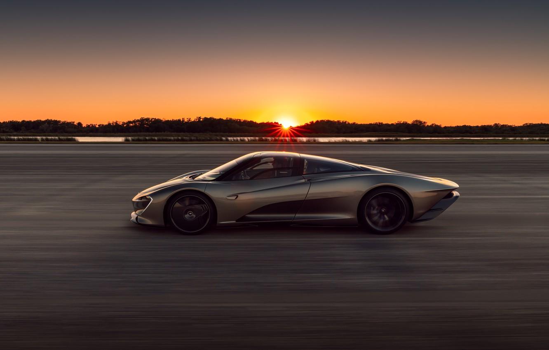Photo wallpaper sunset, McLaren, speed, the evening, supercar, side view, hypercar, 2019, Speedtail