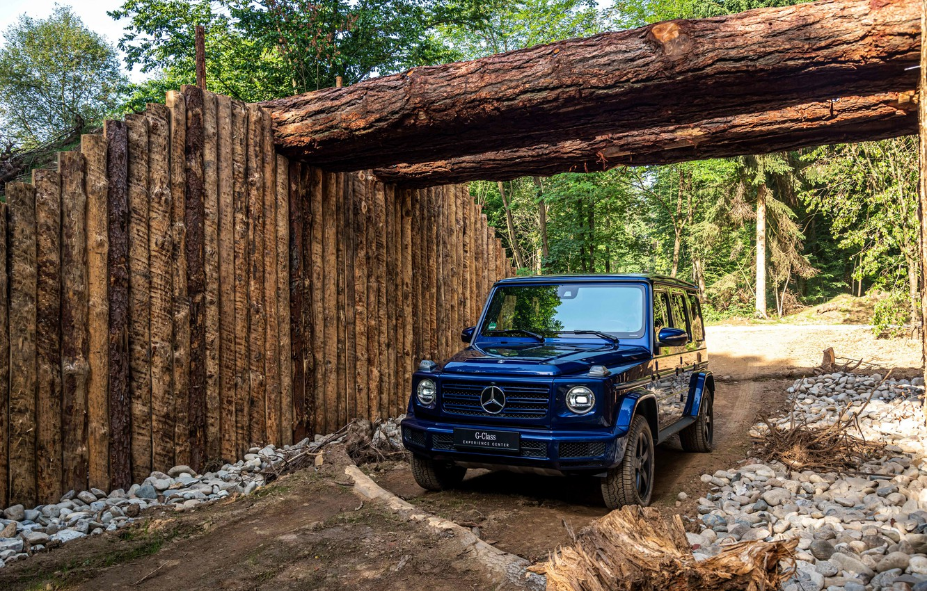 Photo wallpaper blue, Mercedes-Benz, SUV, logs, 4x4, G-Class, 2019
