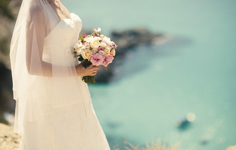 Photo wallpaper flowers, bride, white dress