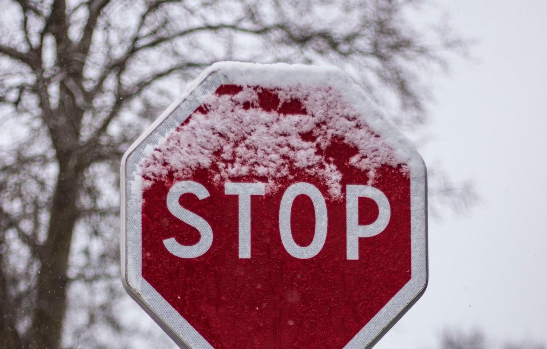 Photo wallpaper winter, snow, sign, stop