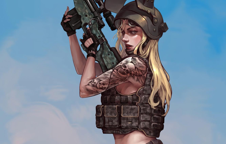 Photo wallpaper girl, weapons, helmet, vest, Playerunknown's Battlegrounds