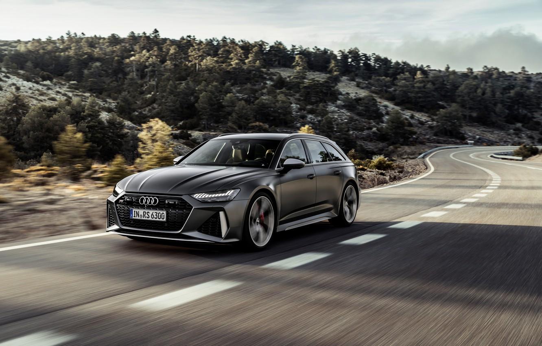 Photo wallpaper trees, Audi, hills, speed, universal, RS 6, 2020, 2019, dark gray, V8 Twin-Turbo, RS6 Avant