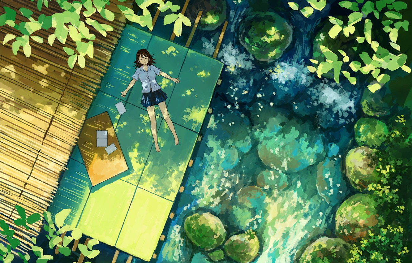Photo wallpaper summer, plants, girl, lies, schoolgirl, the view from the top, Sunny day, the pond, stones …