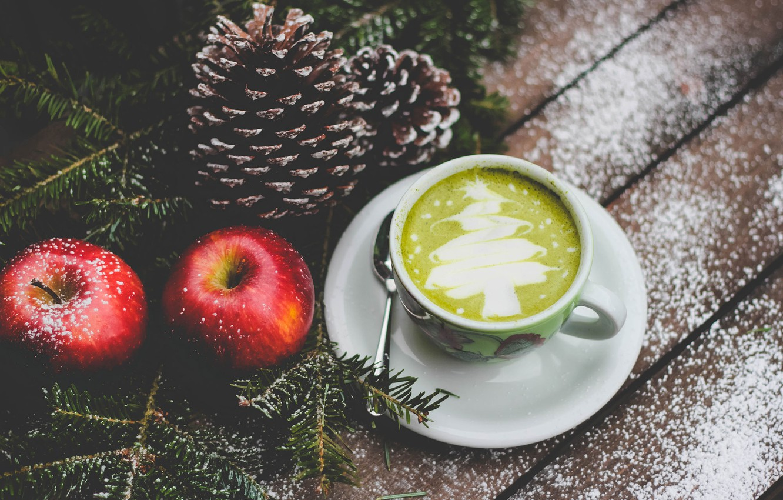 Photo wallpaper apples, Apple, spoon, mug, bumps