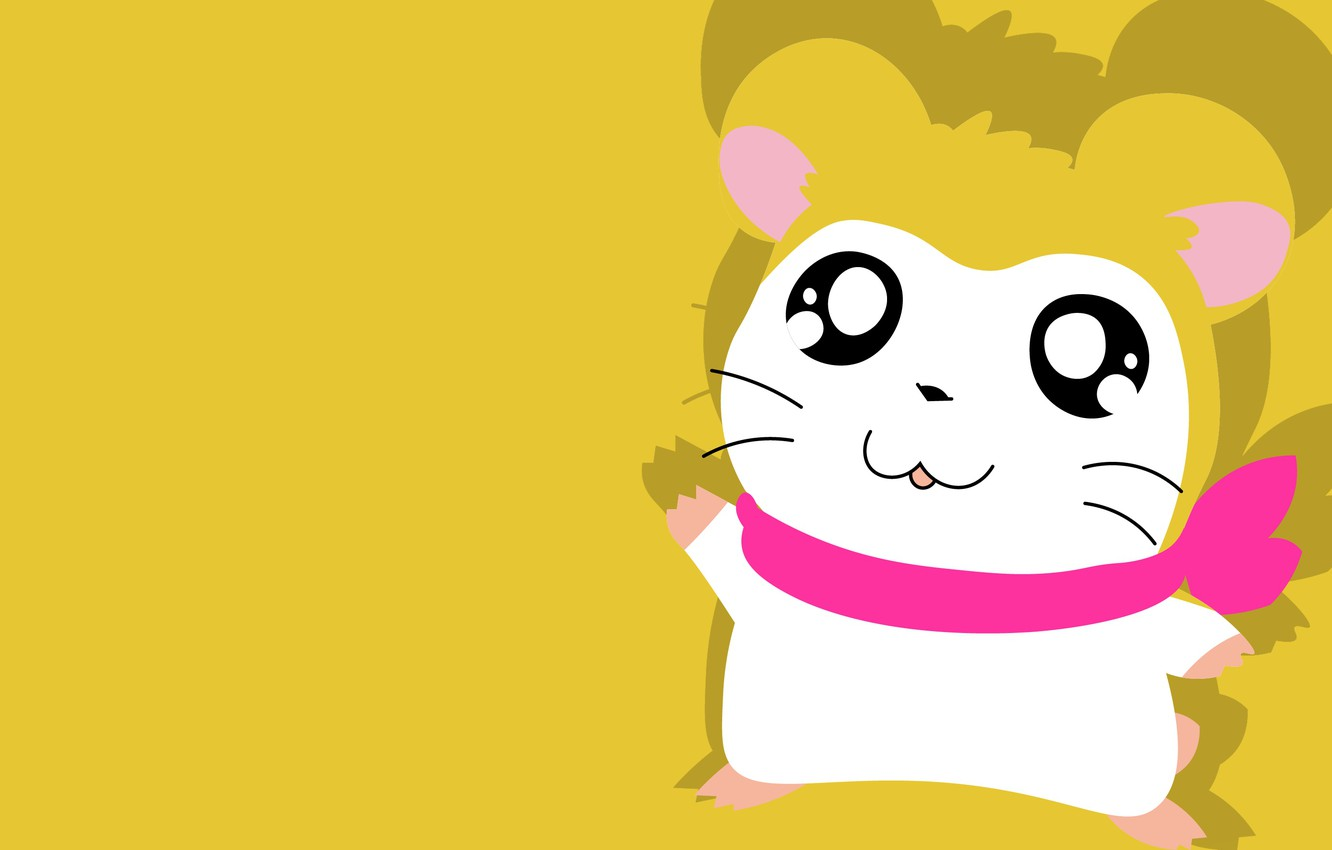 Photo wallpaper hamster, mouse, yellow background