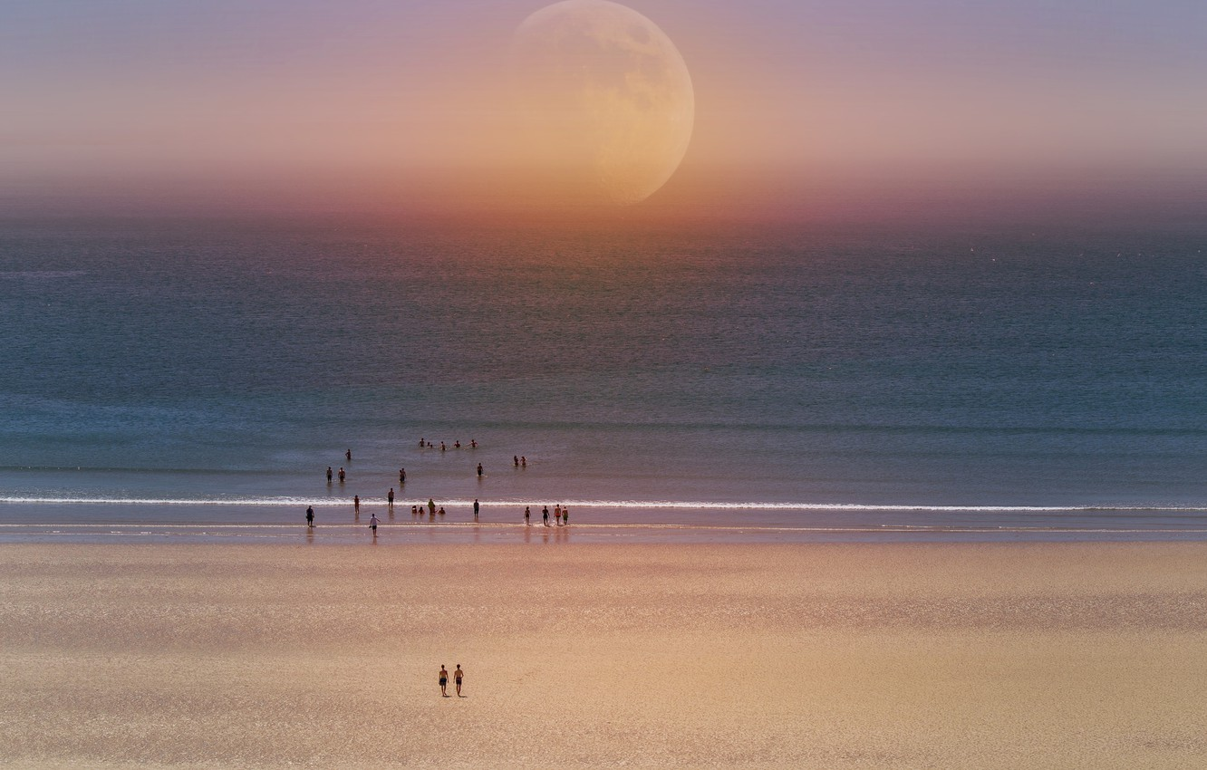 Photo wallpaper sea, beach, people, collage, The moon, moon, beach, sea, people, collage, Ludmila Shumilova