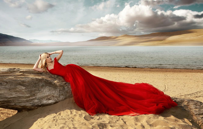 Photo wallpaper sand, sea, beach, girl, pose, style, red dress, Renat Khismatulin