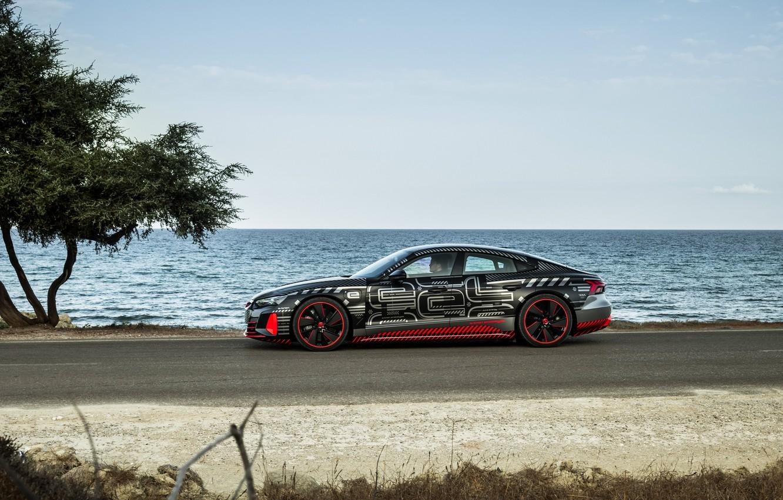 Photo wallpaper Audi, shore, coupe, side view, 2020, RS e-Tron GT Prototype