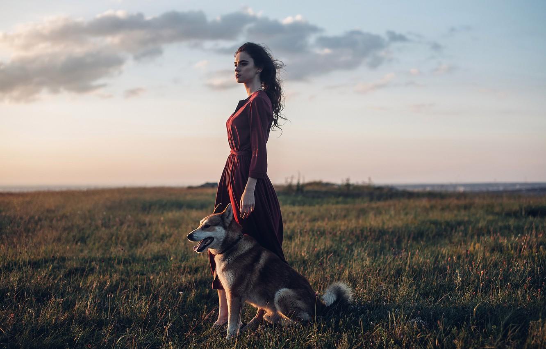 Photo wallpaper girl, dog, dress, meadow, Rome Rome