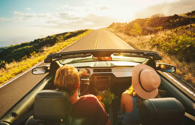 Photo wallpaper Car, Sun, Woman, Summer, Road, Man, Mood, Trip