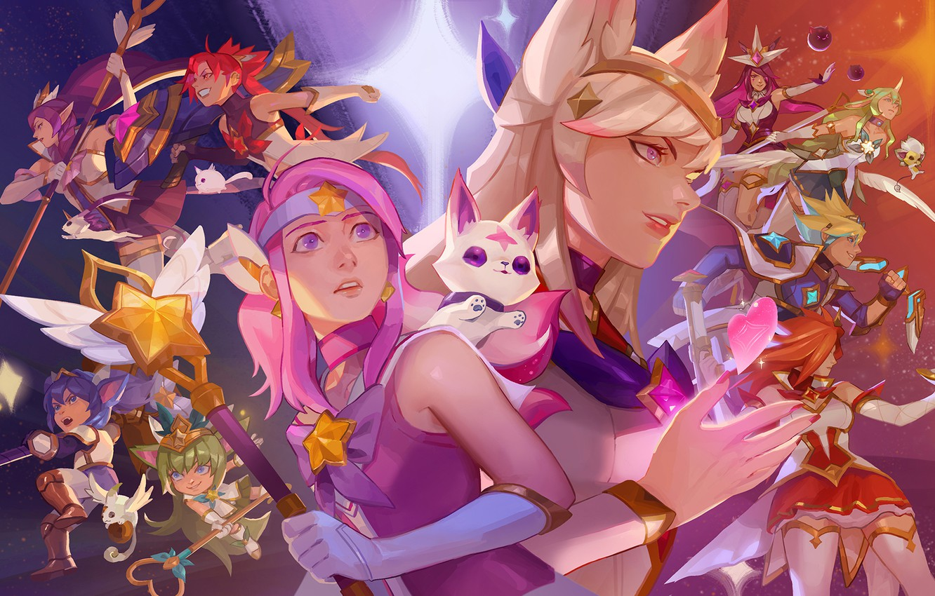 Wallpaper Lux Janna Ahri Soraka Syndra League Of Legends
