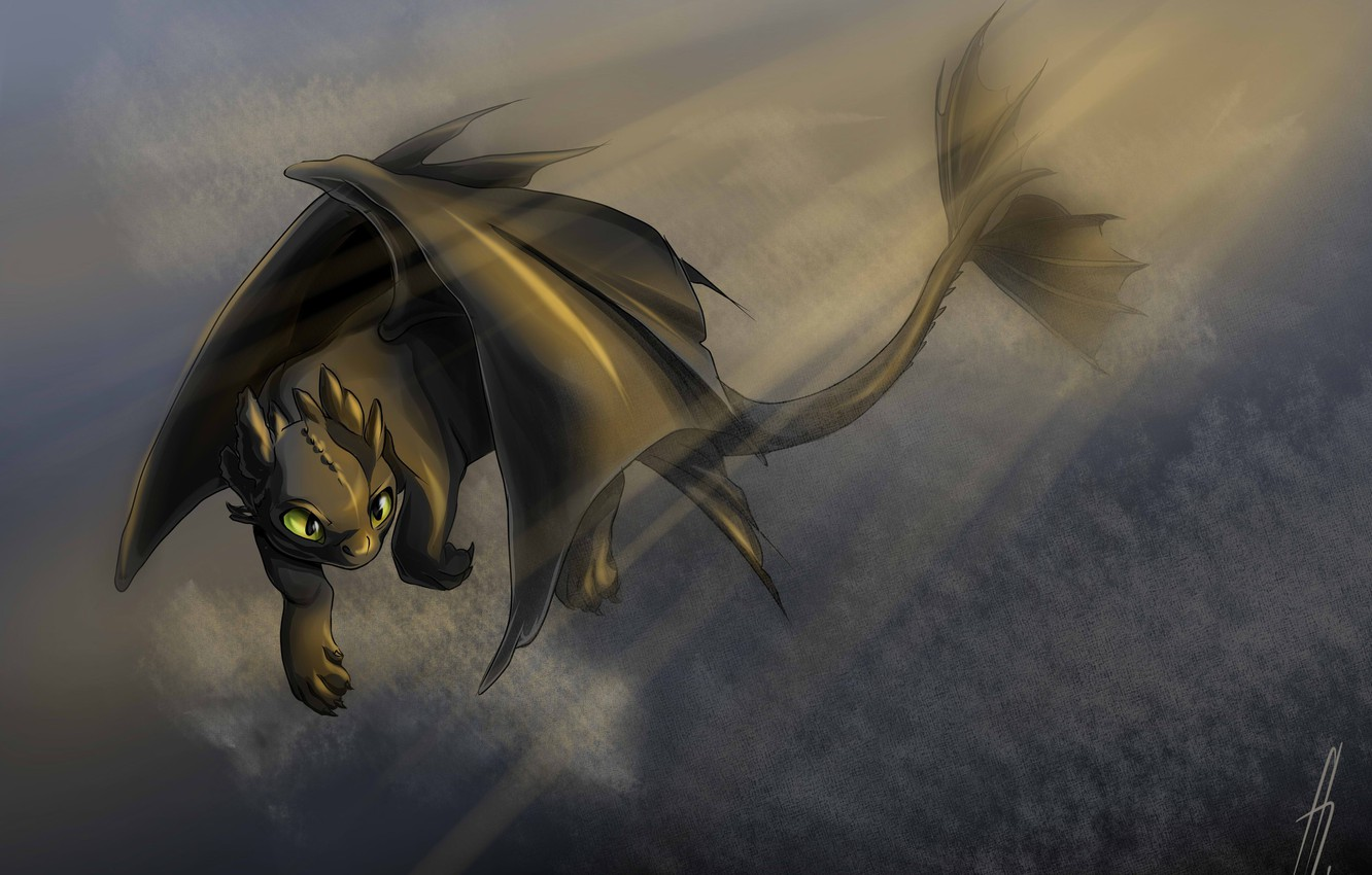 Photo wallpaper fantasy, art, dragon, Toothless, How to train your dragon, the night fury