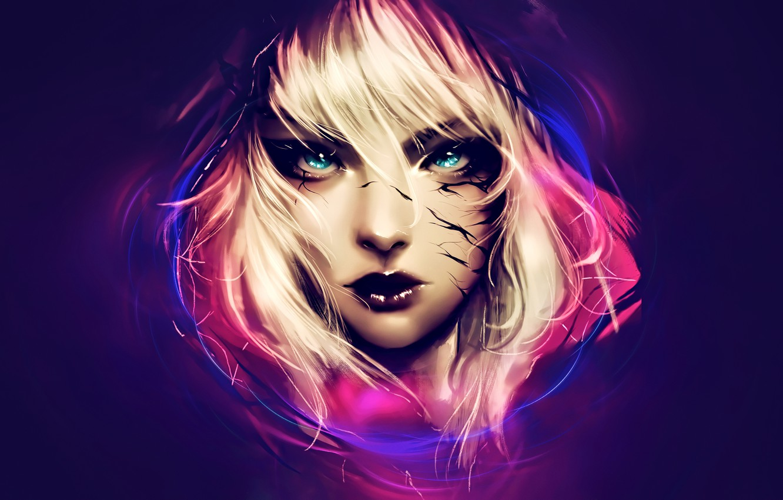 Photo wallpaper look, girl, blonde, girl, horror, horror, look, blonde, fantasy art, fantasy art, лицо крупным планом, …