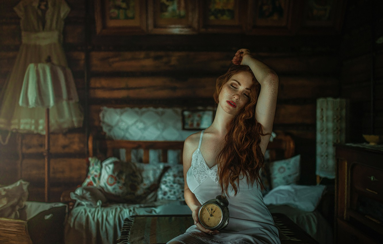 Photo wallpaper girl, pose, mood, alarm clock, freckles, red, redhead, combination, closed eyes, freckled