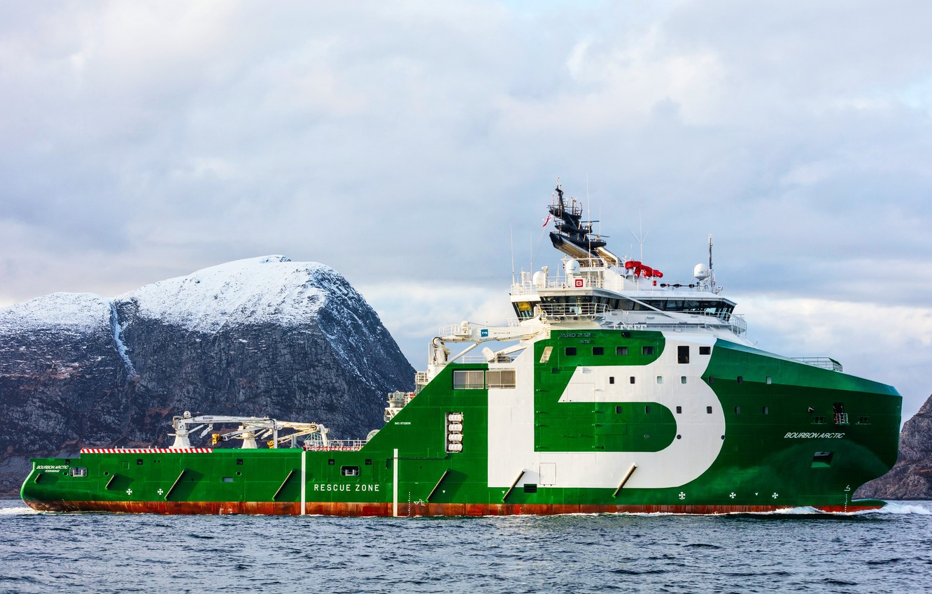 Photo wallpaper Sea, Mountains, The ship, Arctic, Side view, Bourbon, Vessel, AHTS, Offshore, Anchor Handling Tug Supply, …