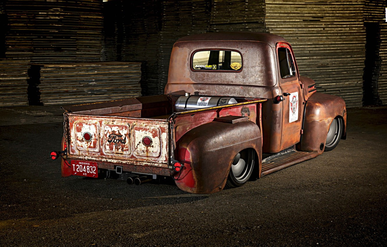 Photo wallpaper Ford, Truck, Low, Rusty