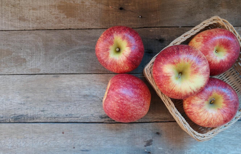 Photo wallpaper apples, fruit, wood, fruit, apples