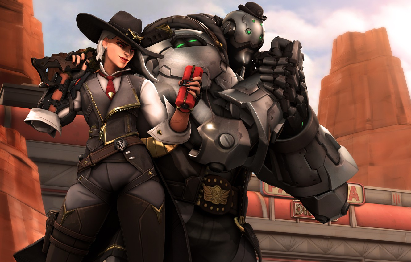 Photo wallpaper girl, robot, dynamite, ashe, bob, overwatch, Elizabeth Caledonia