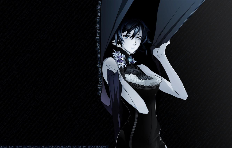 Photo wallpaper girl, anime, black background, Dogs: Bullets & Carnage