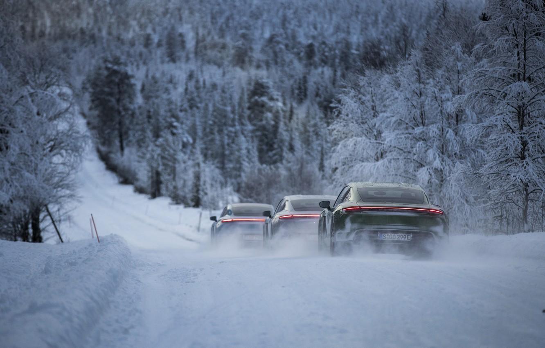 Photo wallpaper road, forest, snow, movement, Porsche, 2020, Taycan, Taycan 4S
