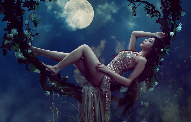 Photo wallpaper girl, pose, the moon, feet, dress, Asian, vines