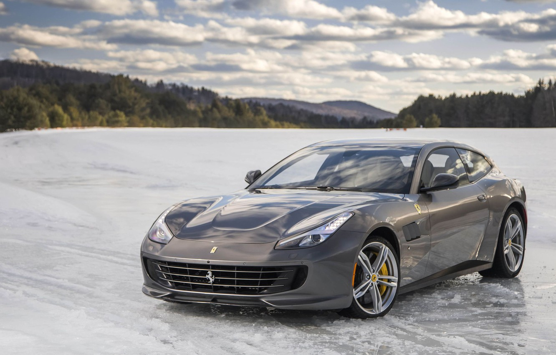 Photo wallpaper Snow, Ice, Supercar, Ferrari FF