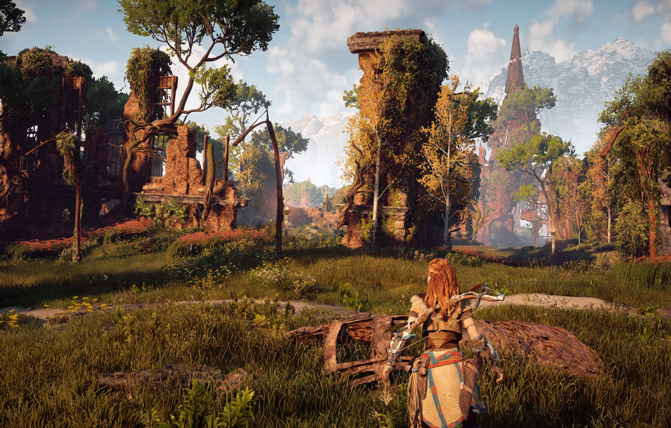 Photo wallpaper ruins, exclusive, Playstation 4, Guerrilla Games, Horizon Zero Dawn, Eloy