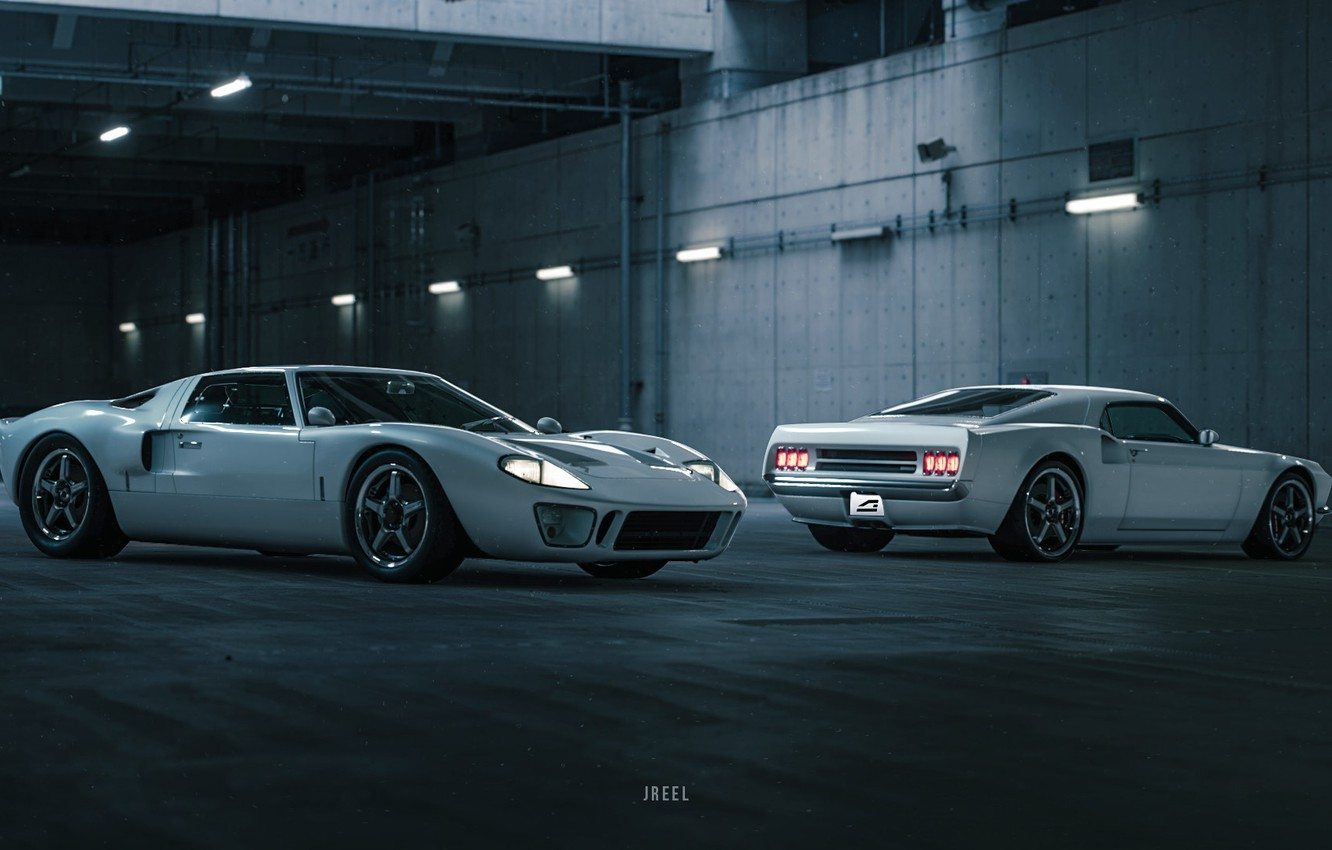 Wallpaper Ford Auto The Game White Machine Two Ford Gt