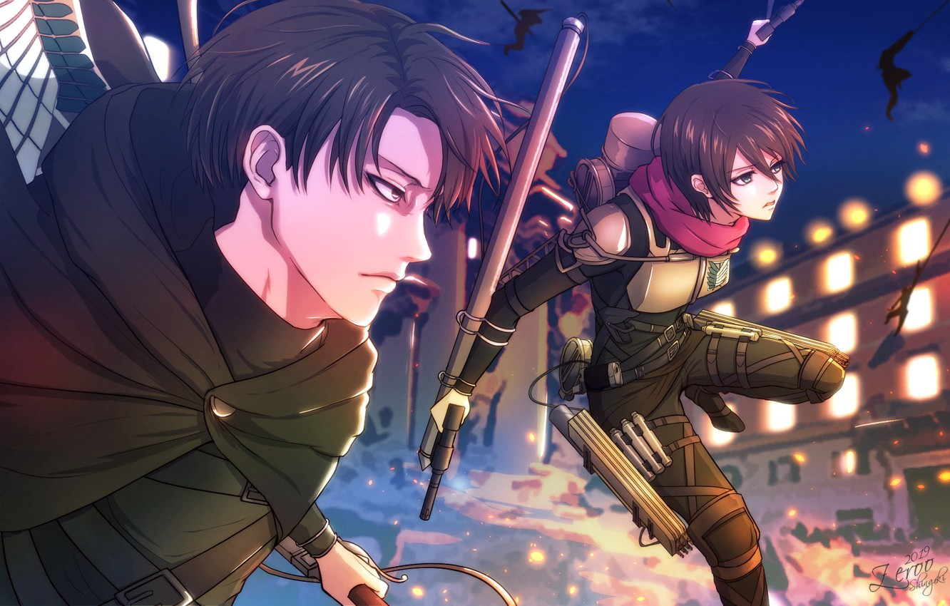 Wallpaper Mikasa Attack Of The Titans Levi Zeroo7x Shingeki No