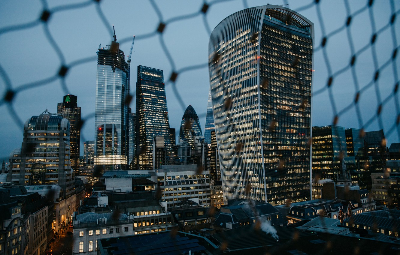 Wallpaper City Lights Evening Fence London Buildings Architecture Skyscrapers Urban Cityscape Metropolis 4k Ultra Hd Background London Skyline Images For Desktop Section Gorod Download