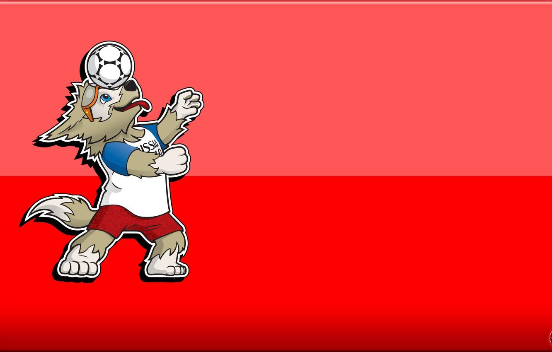 Photo wallpaper The ball, Sport, Football, Background, Wolf, Russia, 2018, FIFA, FIFA, World Cup 2018, Mascot, Zabijaka, ...