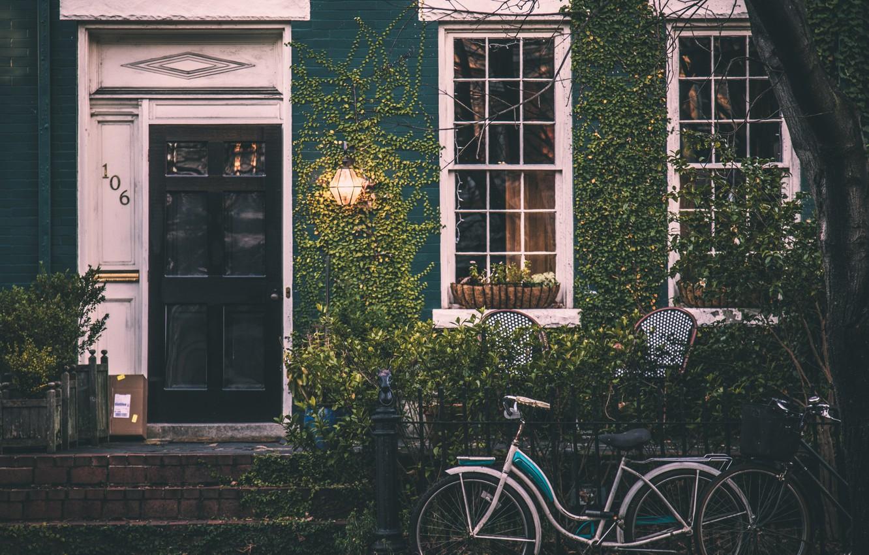 Photo wallpaper bike, house, The city, Window, grapes, lantern, architecture
