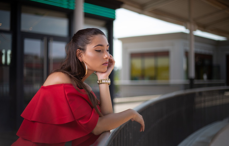 Photo wallpaper girl, pose, earrings, in red, bokeh