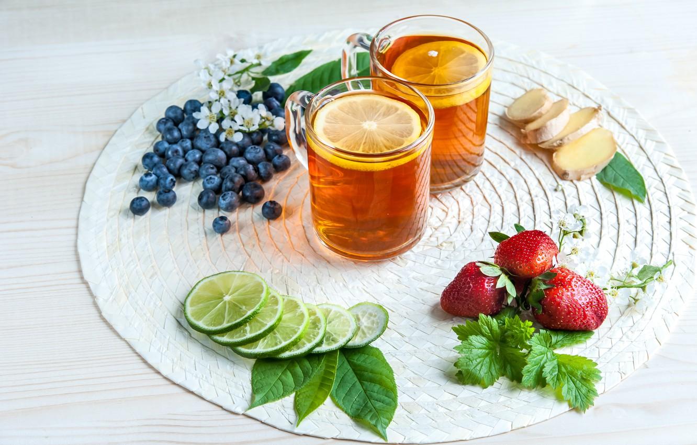 Photo wallpaper berries, lemon, tea, blueberries, strawberry, lime, still life