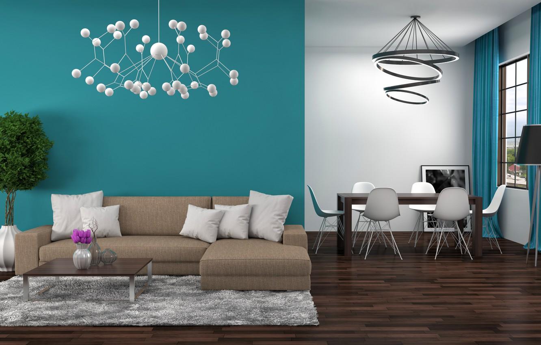 Photo wallpaper flower, design, table, sofa, interior, chandelier, living room, dining room