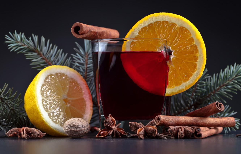 Photo wallpaper glass, table, background, lemon, new year, Christmas, walnut, drink, cinnamon, bokeh, star anise, walnut, pine …