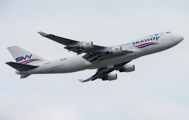 Photo wallpaper Boeing, 747-400F, Silk Way West Airlines