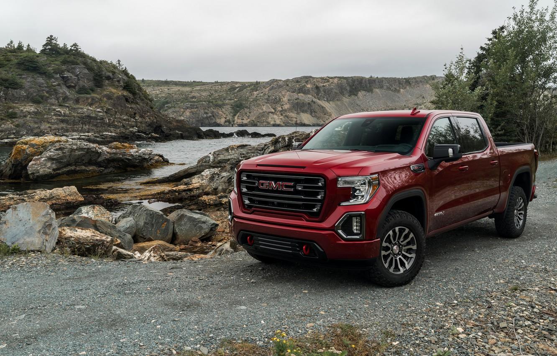 Photo wallpaper red, pickup, pond, GMC, Sierra, AT4, 2019