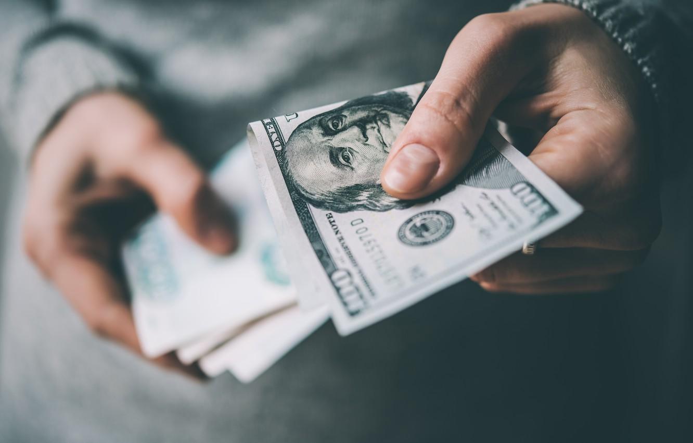 Photo wallpaper money, dollars, hand, paper