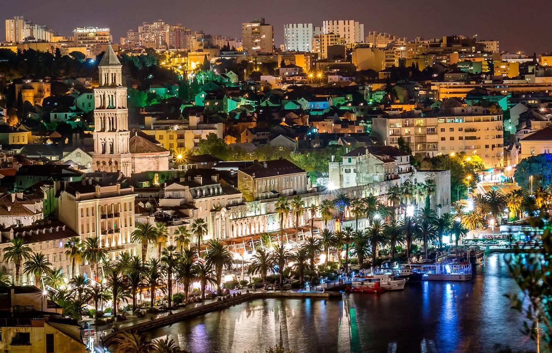 Photo wallpaper sea, night, lights, palm trees, yachts, promenade, Croatia, Split