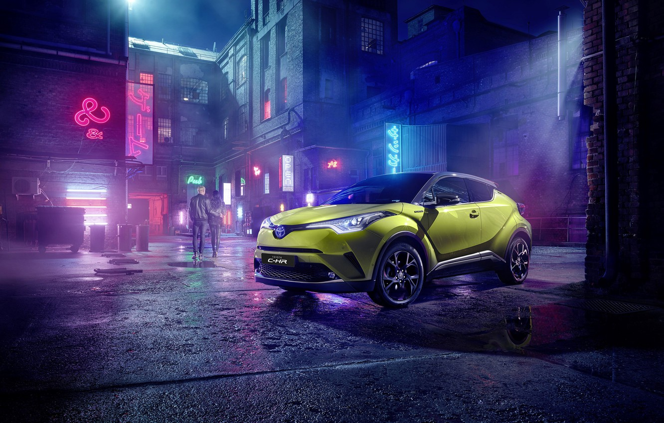 Photo wallpaper Toyota, C-HR, 2019, Neon Lime, powered py JBL