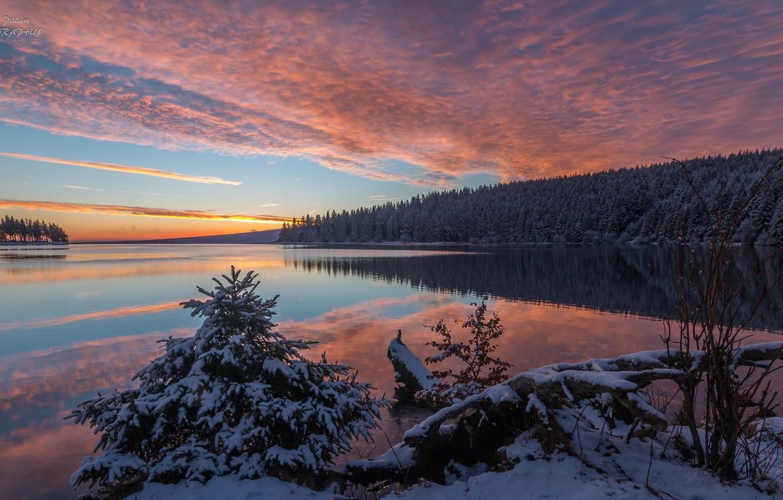 Wallpaper Winter Landscape Sunset Nature Lake Beauty