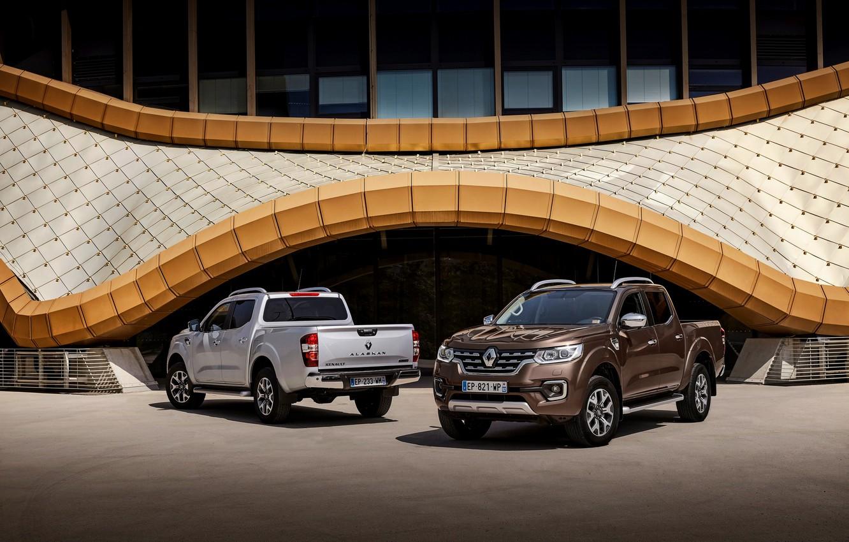 Photo wallpaper grey, Parking, Renault, brown, 4x4, 2017, Alaskan, pickups
