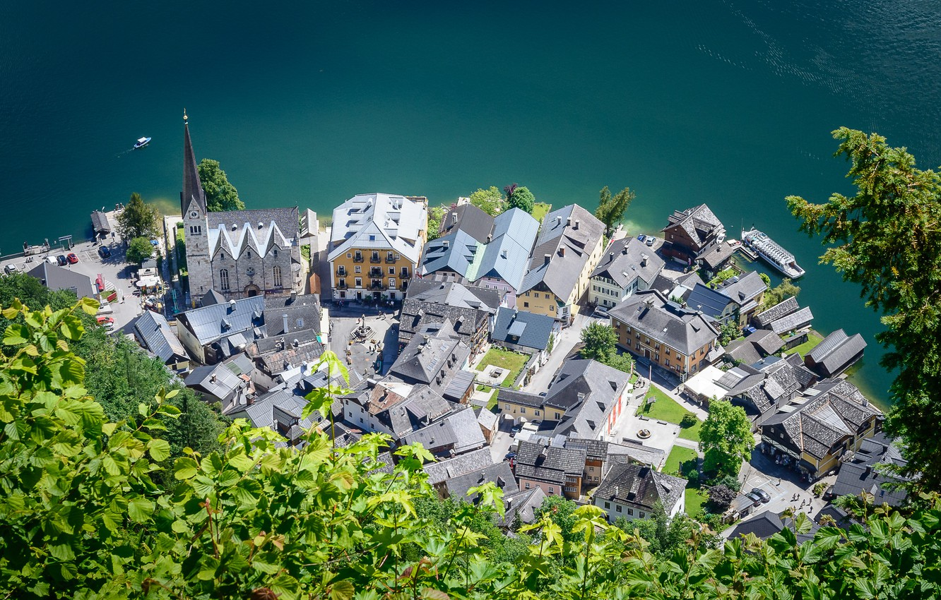 Photo wallpaper greens, the city, lake, foliage, home, Austria, Church, the view from the top, Hallstatt, Hallstatt, …