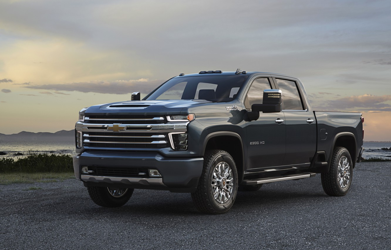 Photo wallpaper Chevrolet, pickup, on the shore, Silverado, High Country, 2020, 2500 Heavy Duty