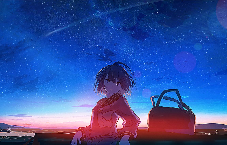 Photo wallpaper the sky, sunset, the evening, girl, bag