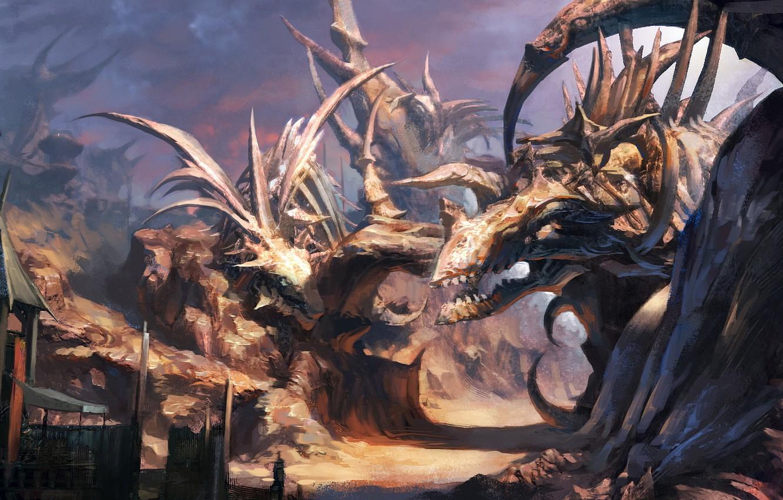 Photo wallpaper the game, dinosaurs, skeletons, Tera