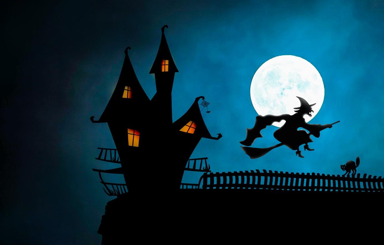 Photo wallpaper night, Halloween, witch, broom
