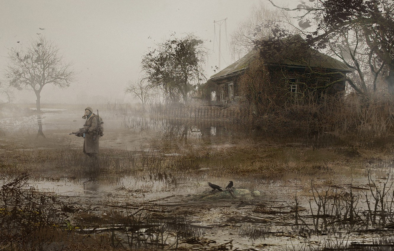Photo wallpaper House, Soldiers, Stalker, Pripyat, STALKER, Fog, Mac Rebisz, by Mac Rebisz