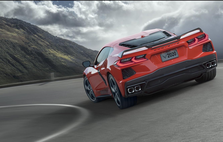 Photo wallpaper Road, Corvette, Chevrolet, Speed, Stingray, 2020, Cook, Chevrolet Corvette ( C8 ) Stingray